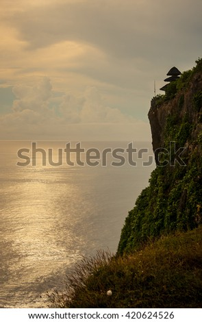 A Temple on A Cliff at Bali Indonesia - stock photo