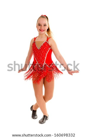 A Ten Year old Jazz Dancer in her Recital Costume - stock photo