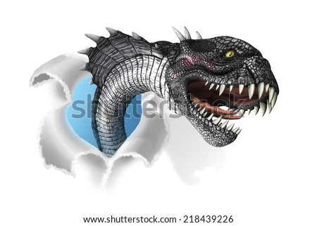 A terrifying mutant snake rips through your document - 3d render with digital painting. - stock photo
