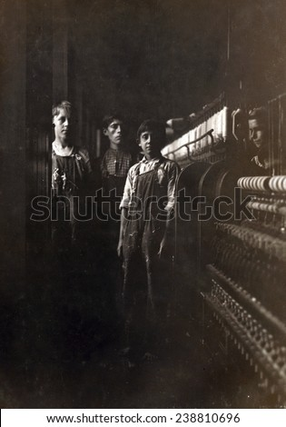 A textile mill. Some of the small boys working in the Amoskeag Mfg. Co., Manchester, N.H, photograph by Lewis Wickes Hine, May 25, 1909