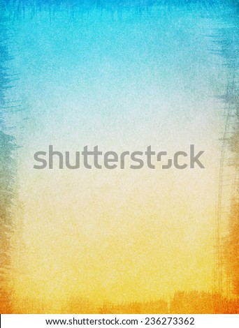 A textured paper background with a blue to yellow gradient.  Image displays a ragged edge border, and a strong grain pattern at 100 percent. - stock photo