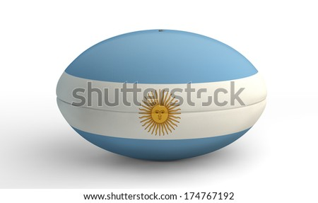 A textured rugby ball in the colors of the argentina national flag on an isolated white background - stock photo