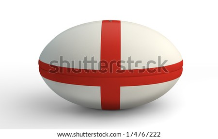 A textured rugby ball in the colors of the british national flag on an isolated white background - stock photo