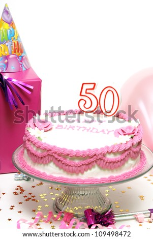 A 50th birthday cake for to celebrate someones special day. - stock photo