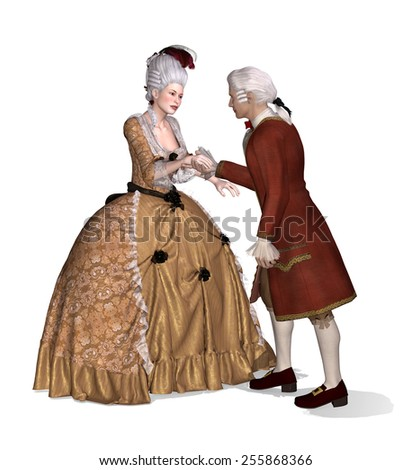 A 18th century gentleman greets a lady - 3d render with digital painting. - stock photo