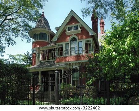A 19th century Victorian style home.