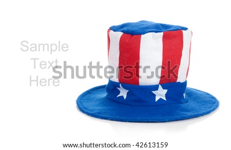 A 4th of July Uncle Sam hat on a white background with copy space - stock photo