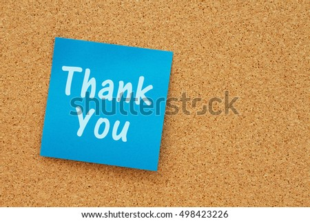 A Thank You message, Bulletin board with a blue sticky note with text Thank You