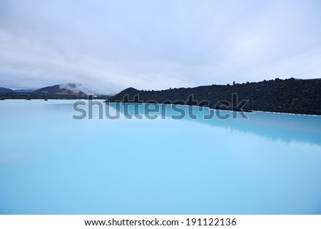 a thermal pool at blue lagoon in iceland - stock photo