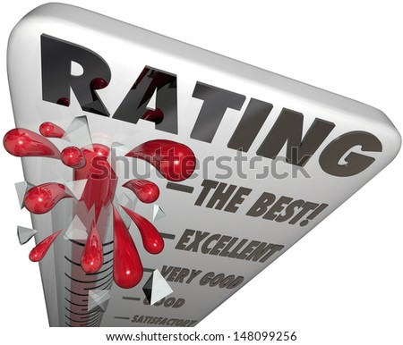 A thermometer with the word Rating to measure your score, review, quality or reputation, at levels The Best, Excellent, Very Good, Good and Satisfactory - stock photo