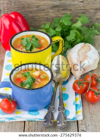 A thick soup made with vegetables and rice. Minestrone. Italian kitchen - stock photo