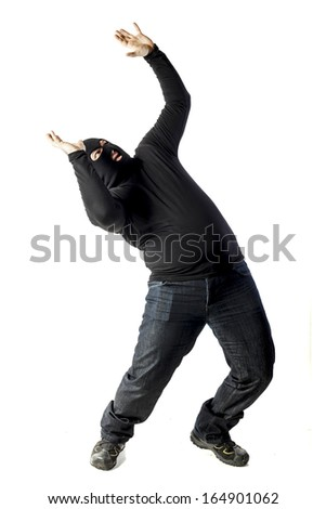 A thief guy  on white background - stock photo