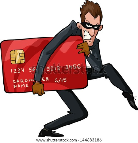 A thief with a credit card raster version - stock photo