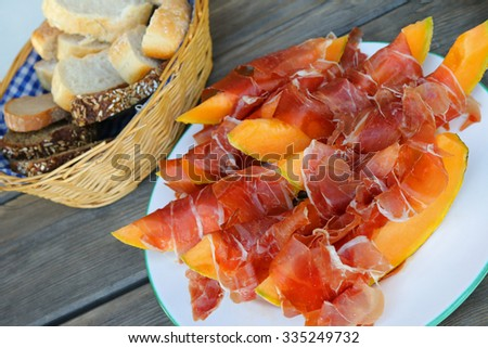 A3 - 4 - 02 Thin slices of Prosciutto served with fresh and juicy cantaloupe Melon - stock photo