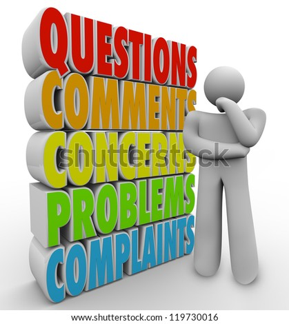 A thinking man or person thinks beside the words Questions, Comments, Concerns, Problems and Complaints to symbolize customer service or support issues - stock photo