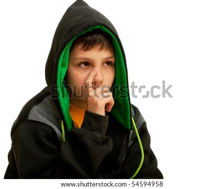 A thoughtful hip-hop dancer; isolated on the white background