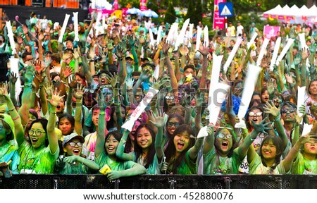 "A Thousand of young people joined the joyful race named ""COLOR ME RUN"" Hanoi, Viet Nam 2016"