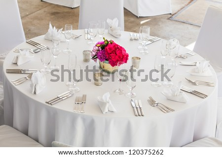 A three course meal will be served to the guests. - stock photo