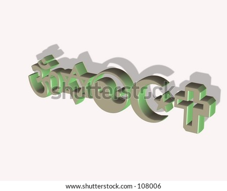 a three dimensional design of 5 religious famous symbols, - stock photo