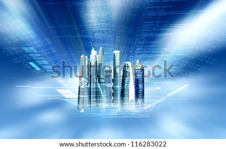 A three dimensional projection of a block of commercial and futuristic offices building in modern city - stock photo