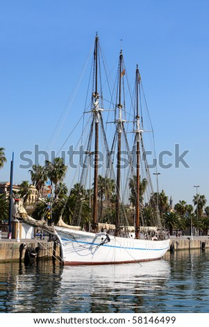 A three mast ship in Barcelona harbor - stock photo