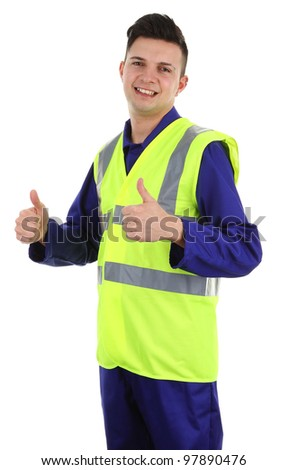A thumbs up worker, isolated on white - stock photo