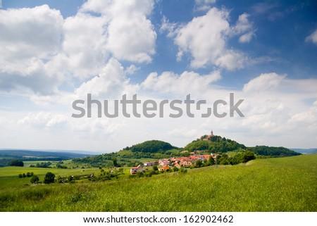 a Thuringian Landscape near Kahla with Castle Leuchtenburg - stock photo