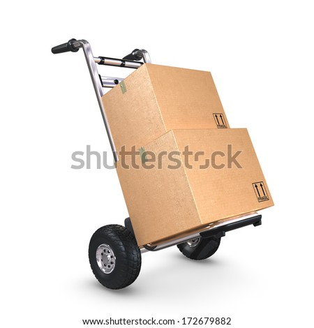 A tilted Hand-Truck with two cardboard boxes on white background. - stock photo