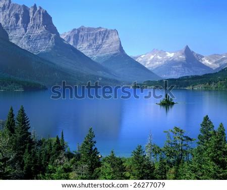 A Tiny Island In Saint Mary Lake, Glacier National Park, Montana - stock photo