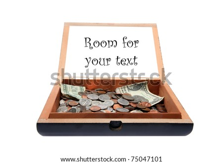 a tip jar or rather an old cigar box as a tip jar with a request for tips. text can easily be removed and replaced with your own sayings or info or images, isolated on white - stock photo