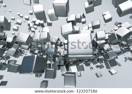 a titanium cubes abstract background - stock photo