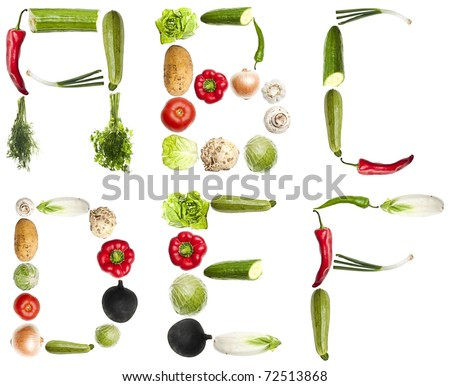 A to F letters made of different vegetables - stock photo