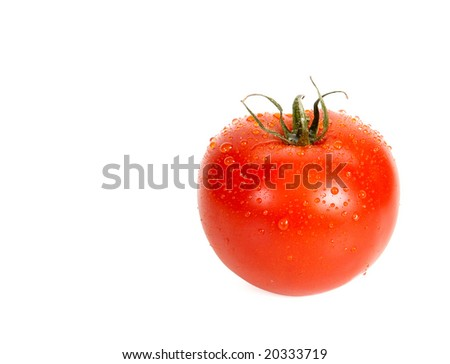 A tomato is in dew and isolated on a white background.