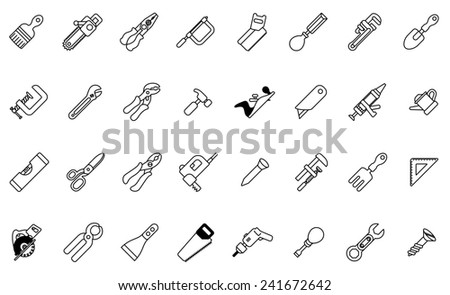 A tool icon set with lots of construction or DIY tools including level, saw and many others - stock photo