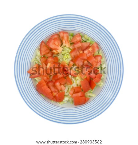 A top view of a fresh cut lettuce and tomato salad in a blue striped bowl. - stock photo