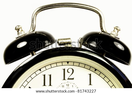a top view of an antique clock black - stock photo