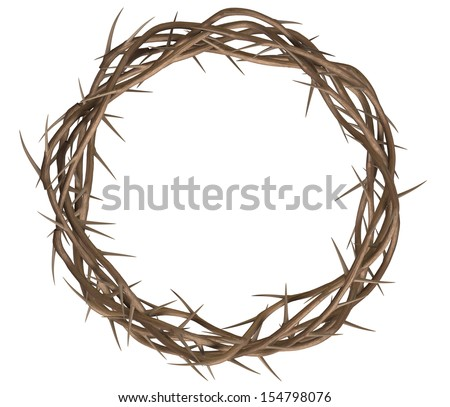 A top view of branches of thorns woven into a crown depicting the crucifixion on an isolated background - stock photo