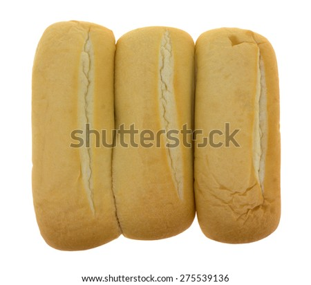 A top view of three bratwurst buns on a white background.  - stock photo