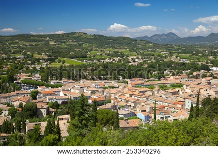 a top view of Vaison-la-Romaine in Provence, France - stock photo