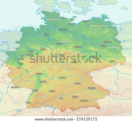 a topographic map of germany with labels derived from raw elevation data from nasa