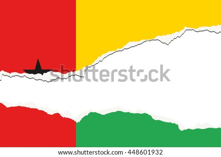 A Torn Flag Illustration of the country of Guinea Bissau - stock photo