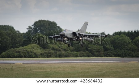 A Tornado jet fighter landing - stock photo
