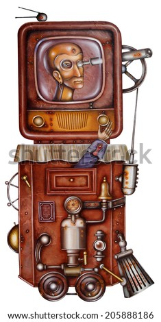 A totalitarian television. Steampunk Illustration - stock photo