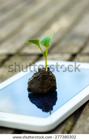 a touch screen of smartphone,tablet,cell phone with seedling growing up on screen over wooden background. abstract background to green communication technology concept.