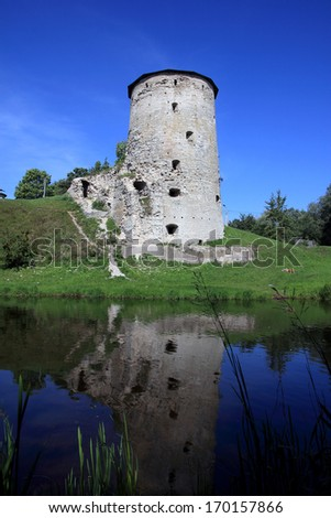 A tower in Pskov, Russia - stock photo