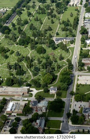 A town cemetery seen from above.