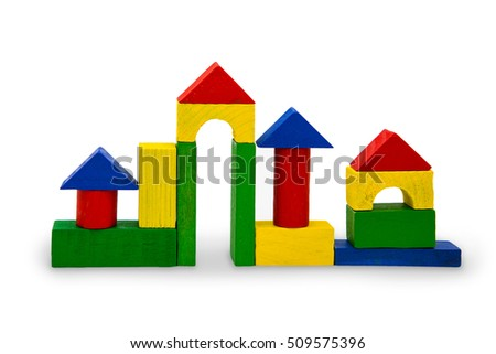 A toy house made from wooden blocks