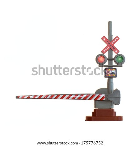A toy train guard isolated against a white background - stock photo