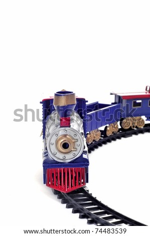 a toy train isolated on a white background - stock photo