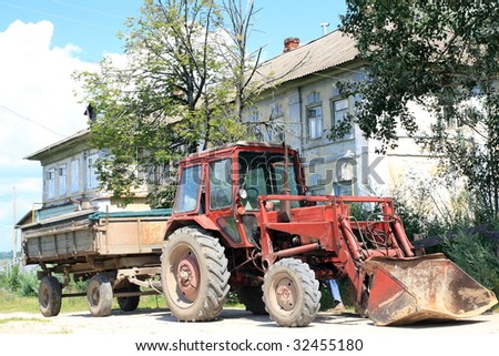 A tractor with a trailer